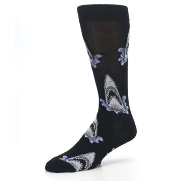 Image of Black Shark Attack Men's Dress Socks (side-2-09)