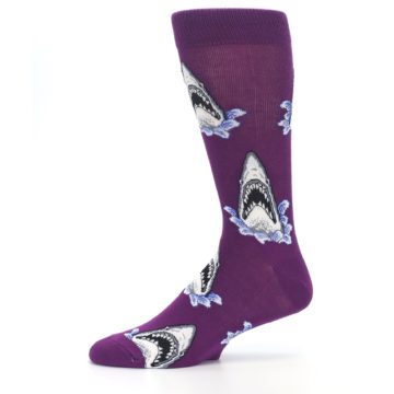 Image of Purple Shark Attack Men's Dress Socks (side-2-11)