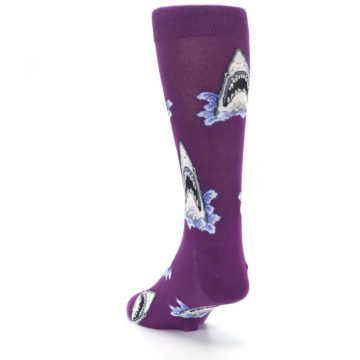 Image of Purple Shark Attack Men's Dress Socks (side-2-back-16)