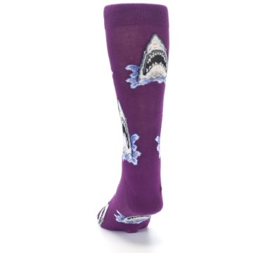 Image of Purple Shark Attack Men's Dress Socks (back-17)