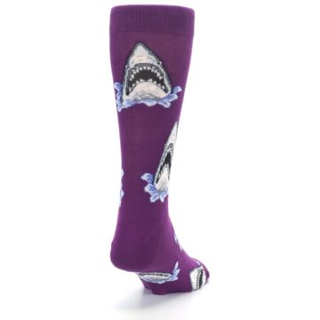 Image of Purple Shark Attack Men's Dress Socks (side-1-back-20)