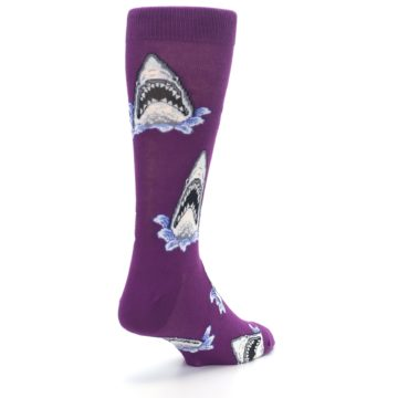 Image of Purple Shark Attack Men's Dress Socks (side-1-back-21)