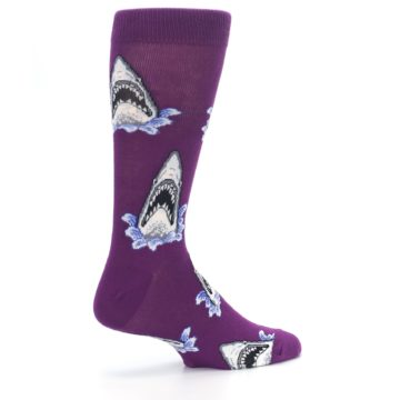 Image of Purple Shark Attack Men's Dress Socks (side-1-23)