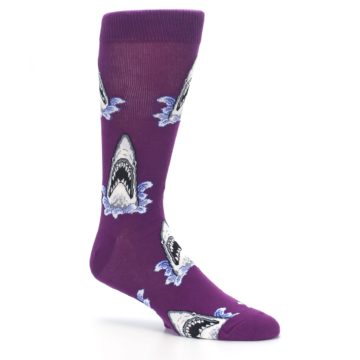 Image of Purple Shark Attack Men's Dress Socks (side-1-26)