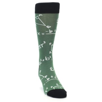 Image of Green White Math Equations Men's Dress Socks (side-1-front-03)