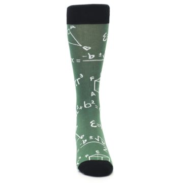 Image of Green White Math Equations Men's Dress Socks (front-04)