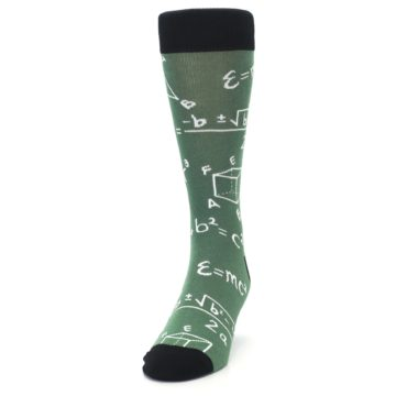 Image of Green White Math Equations Men's Dress Socks (side-2-front-06)