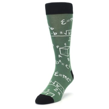 Image of Green White Math Equations Men's Dress Socks (side-2-front-07)