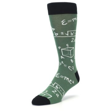 Image of Green White Math Equations Men's Dress Socks (side-2-front-08)