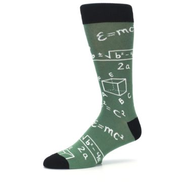 Image of Green White Math Equations Men's Dress Socks (side-2-10)