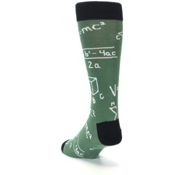 Image of Green White Math Equations Men's Dress Socks (side-2-back-16)