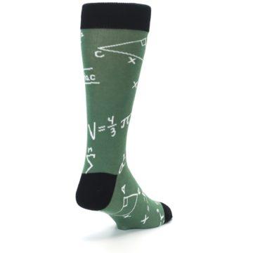 Image of Green White Math Equations Men's Dress Socks (side-1-back-21)