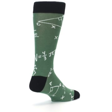 Image of Green White Math Equations Men's Dress Socks (side-1-back-22)