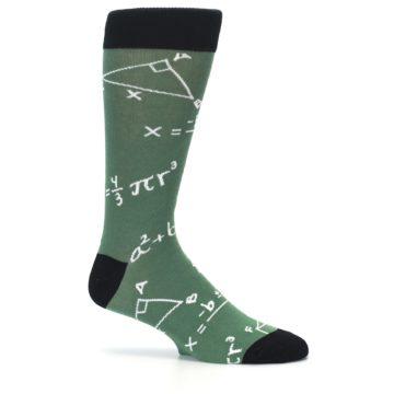 Image of Green White Math Equations Men's Dress Socks (side-1-25)