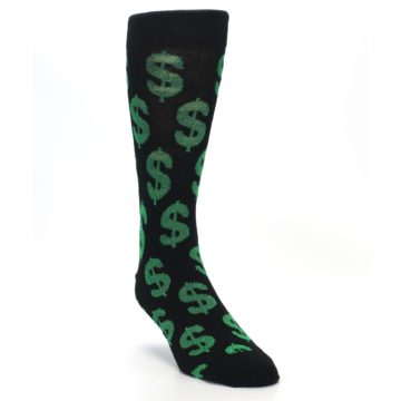Image of Black Green Dollar Money Men's Dress Socks (side-1-front-02)