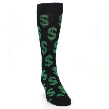 Image of Black Green Dollar Money Men's Dress Socks (side-1-front-03)