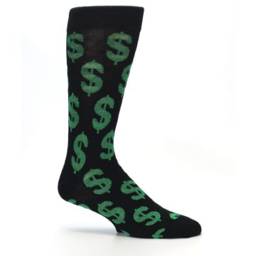 Image of Black Green Dollar Money Men's Dress Socks (side-1-26)