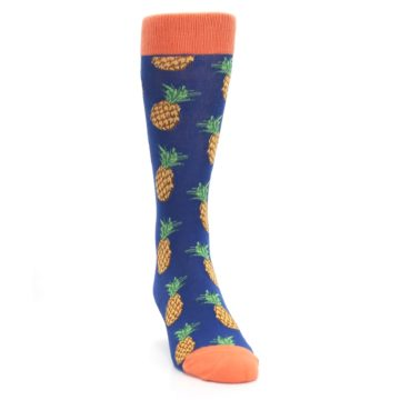Image of Navy Orange Pineapple Fruits Men's Dress Socks (side-1-front-03)