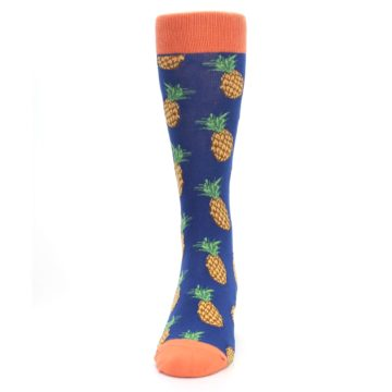 Image of Navy Orange Pineapple Fruits Men's Dress Socks (front-05)
