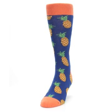 Image of Navy Orange Pineapple Fruits Men's Dress Socks (side-2-front-06)