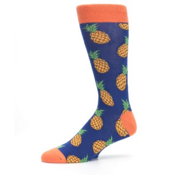 Image of Navy Orange Pineapple Fruits Men's Dress Socks (side-2-10)
