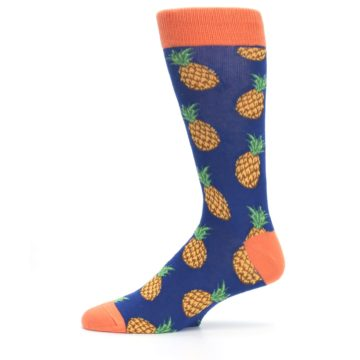 Image of Navy Orange Pineapple Fruits Men's Dress Socks (side-2-11)