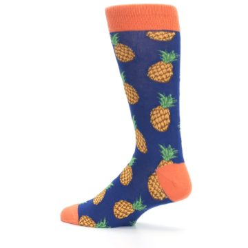 Image of Navy Orange Pineapple Fruits Men's Dress Socks (side-2-13)