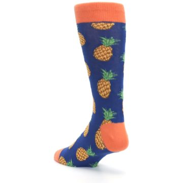 Image of Navy Orange Pineapple Fruits Men's Dress Socks (side-2-back-15)