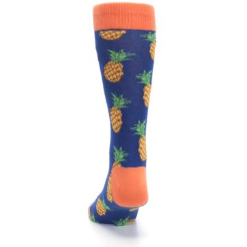Image of Navy Orange Pineapple Fruits Men's Dress Socks (back-17)
