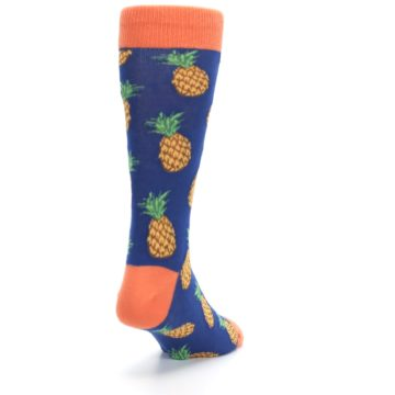 Image of Navy Orange Pineapple Fruits Men's Dress Socks (side-1-back-20)
