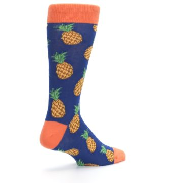 Image of Navy Orange Pineapple Fruits Men's Dress Socks (side-1-back-22)
