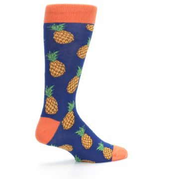 Image of Navy Orange Pineapple Fruits Men's Dress Socks (side-1-23)