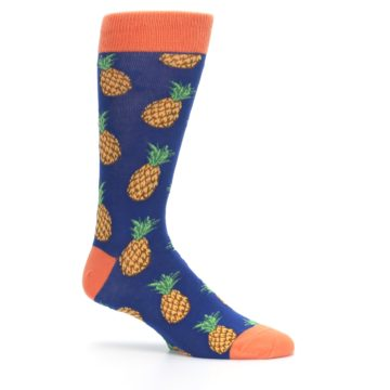 Image of Navy Orange Pineapple Fruits Men's Dress Socks (side-1-25)