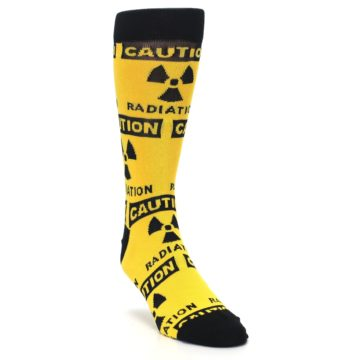 Image of Yellow Black Caution Radioactive Men's Dress Socks (side-1-front-02)