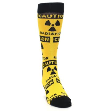 Image of Yellow Black Caution Radioactive Men's Dress Socks (side-1-front-03)