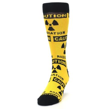 Image of Yellow Black Caution Radioactive Men's Dress Socks (side-2-front-06)
