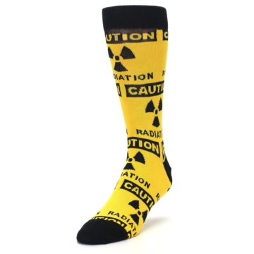 Image of Yellow Black Caution Radioactive Men's Dress Socks (side-2-front-07)