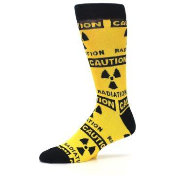 Image of Yellow Black Caution Radioactive Men's Dress Socks (side-2-10)
