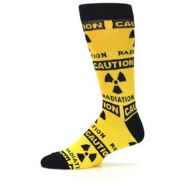 Image of Yellow Black Caution Radioactive Men's Dress Socks (side-2-11)