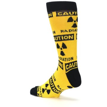 Image of Yellow Black Caution Radioactive Men's Dress Socks (side-2-back-14)