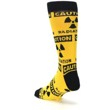 Image of Yellow Black Caution Radioactive Men's Dress Socks (side-2-back-15)