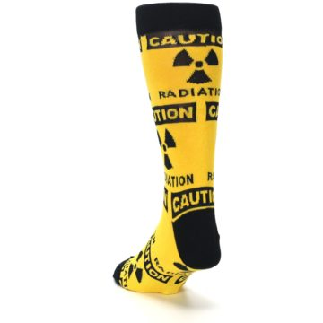Image of Yellow Black Caution Radioactive Men's Dress Socks (side-2-back-16)