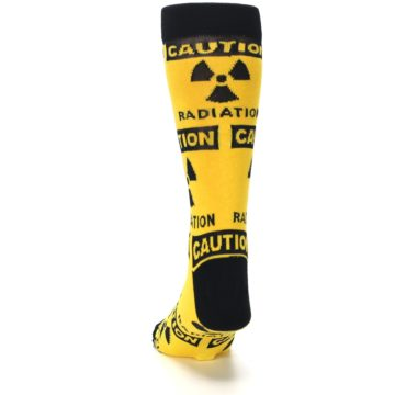 Image of Yellow Black Caution Radioactive Men's Dress Socks (back-17)