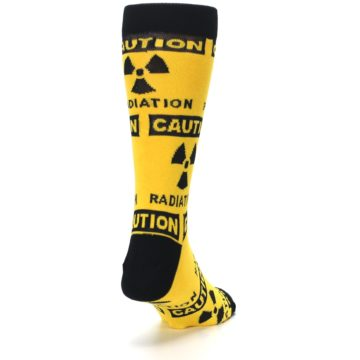 Image of Yellow Black Caution Radioactive Men's Dress Socks (side-1-back-20)