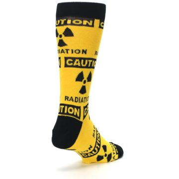 Image of Yellow Black Caution Radioactive Men's Dress Socks (side-1-back-21)