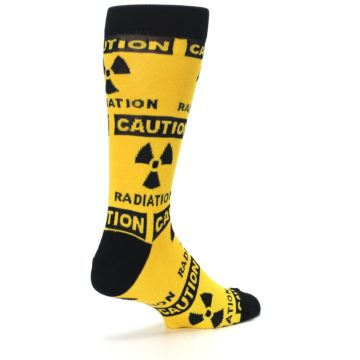 Image of Yellow Black Caution Radioactive Men's Dress Socks (side-1-back-22)