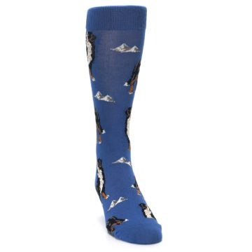 Image of Blue Bernese Dog Men's Dress Socks (side-1-front-03)