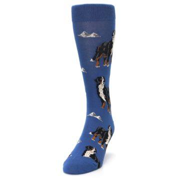 Image of Blue Bernese Dog Men's Dress Socks (side-2-front-06)