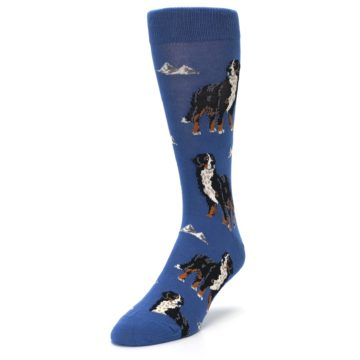 Image of Blue Bernese Dog Men's Dress Socks (side-2-front-07)