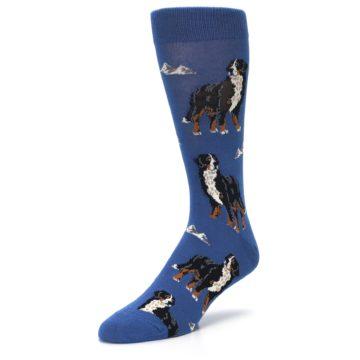 Image of Blue Bernese Dog Men's Dress Socks (side-2-front-08)